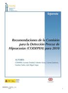 Portada de la Separata 131 de la Revista FIAPAS cuyo título es Recomendaciones CODEPEH 2010. En ella se ven los logotipos de FIAPAS, el Ministerio de Sanidad, Servicios Sociales e Igualdad, y el de Fundación ONCE