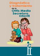 Imagen de la portada del Folleto CODEPEH 2016 en el que se lee: Diagnostico y tratamiento de la Otitis Media Secretora Infantil. Es una ilustración de una otrrorino examinando el oído de un niño