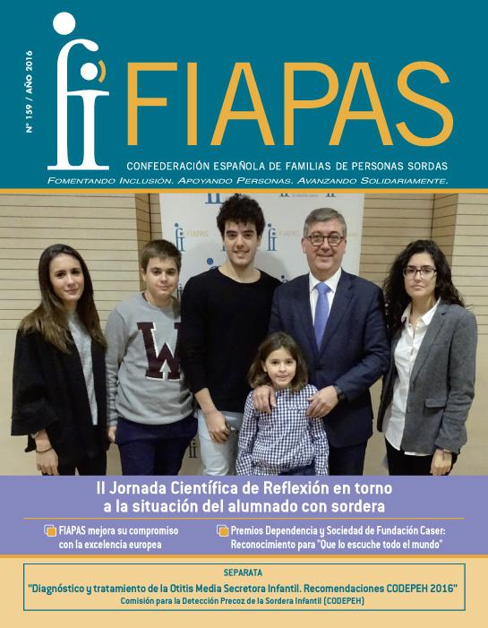 Portada de la Revista FIAPAS 159 en la que aparece una foto del secretario de Estado de Educación, Marcel Marín, junto a niños y jóvenes sordos usuarios de prótesis auditivas que pertenen al Movimiento Asociativo de FIAPAS