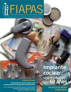 Portada de la Revista FIAPAS 160 en la que se ven todos los tipos de prótesis auditiva sobre un fajo de billetes y un montón de monedas.