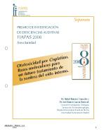 Imagen de la Portada de la Separata del Premio FIAPAS 2008 en el Área de Sanidad en la cual se puede leer el título del trabajo premiado