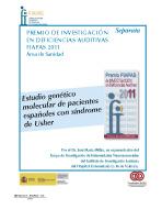 Portada de la Separata en la que se publica el Trabajo premiado por FIAPAS en 2011 en el Área de Sanidad. Se lee el título del trabajo