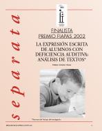 Imagen de la Portada de la Separata del finalista del Premio FIAPAS 2002- Área de Educación