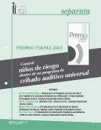 Imagen de la portada de la Separata Premio FIAPAS 2003. Área de Sanidad en la que se puede leer el título del trabajo premiado.