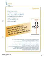 Portada de la SEPARATA del Finalista del Premio FIAPAS 2008. Área de Sanidad en la que se puede leer el tiítulo del trabajo finalista
